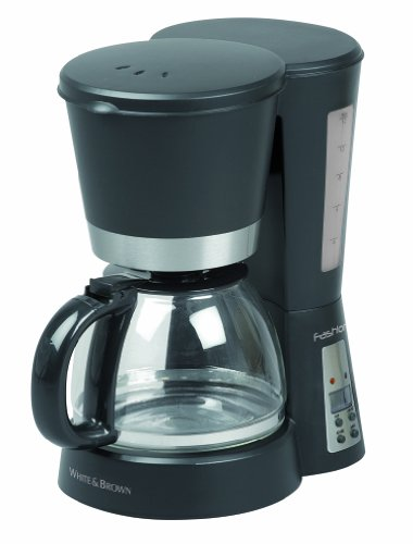 White and Brown FA 832 Cafetière programmable 832-12 tasses-900W-1,2L, 900 W, 1.2 liters, Noir