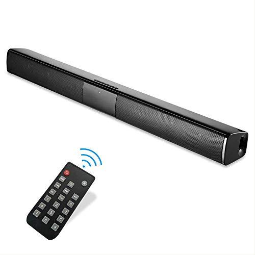 Soundbar Bluetooth 20W TV con Cable e inalámbrico, Graves Profundos y subwoofer para TV, PC, Smartphone, Tableta, Control Remoto, Bluetooth/AUX/RCA, 22 Pulgadas, Color Negro