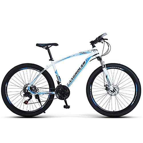 PBTRM Bicicleta MTB Montaña Cola Rígida 26 Pulgadas, 27 Velocidades, Frenos De Disco, Altura Adecuada 160-185 Cm,Blanco