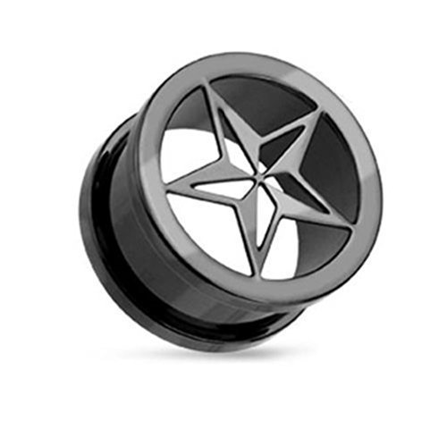 Coolbodyart Unisex 1x Negro Titanio anodizado Túnel Punk Estrella Disponible en 8mm-25mm 19mm