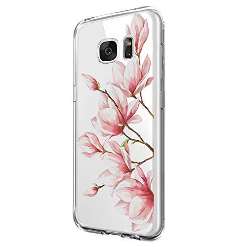 Riyeri Hülle Compatible with Samsung Galaxy S7 Edge Hülle Transparent TPU Silikon Bumper Schutzhülle Soft Handyhülle für Samsung S7 Edge - Blume Serie (15)