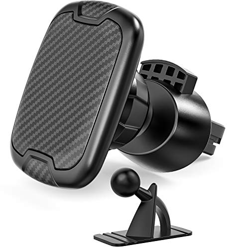 Magnetic Phone Car Holder with 2 Mounts, SUEFFI Cell Phone Holder for Car, 6 Magnets Universal Magnetic Car Phone Holder Mount with 2 Cradles Clip on or Stick on