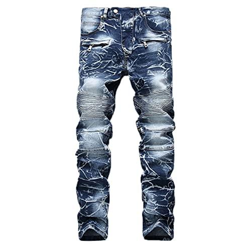 Fashion Biker Jeans for Men,Forthery Ripped Distressed Destroyed Jogger Jeans Teen Boys Washed Slim Fit Leg Denim Pants(Light Blue,42)