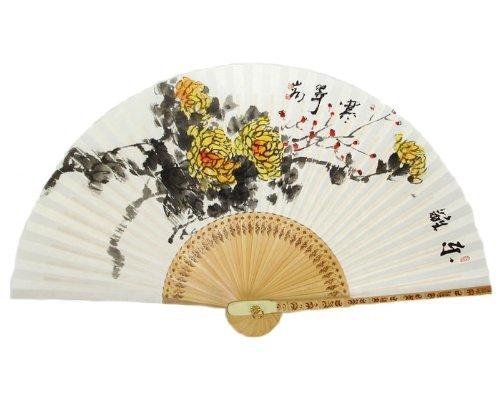 Handgeschilderd Vouwen Geel Chrysant Bloem Schilderen Koreaanse Mulberry Rijst Wit Papier Bamboe Art Houten Aziatische Oosterse Muur Deco Handheld Decoratieve Ventilator