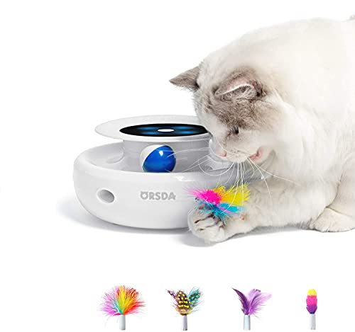 ORSDA 2-in-1 Interactive Cat Toy, Ambush and Ball Tracks Electronic Cat Toys with Rotating Feather, Automatic Toys for Indoor Cats/Kitten, 4 Types Attachments, Auto Shut Off, Battery Operated, White