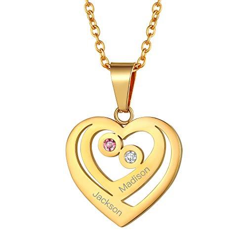 Suplight Doppel-Herz Anhänger Halskette 18k vergoldet Namen Gravur Herzanhänger mit Geburtsstein personalisiert Herzform Namenskette Damen Mädchen Modeschmuck einzigaratiges Geschenk für Jahrestag