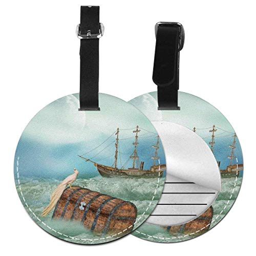 Jard-Baby Antique Old Trunk in Ocean Waves with Magic Bird Pirate Boat Picture,Leather Baggage Tag