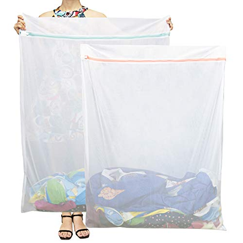 Tenn Well 洗濯袋, 2枚入り 110x90cm特大 洗濯バッグ 丈夫 ファスナー 布団、毛布、カーペット 洗濯ネット 大物用