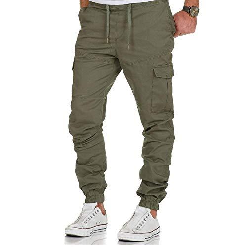 U/A - Pantalones para hombre, monos, pantalones de varios bolsillos, pantalones de ocio para hombres, pantalones de deporte, para hombre Verde verde XL