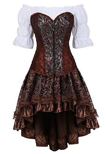 Grebrafan Steampunk Jacquard Corsage Kostüm mit asymmetrischer Spitzenrock und Bluse - für Karneval Fasching Halloween (EUR(34-36) M, Braun)