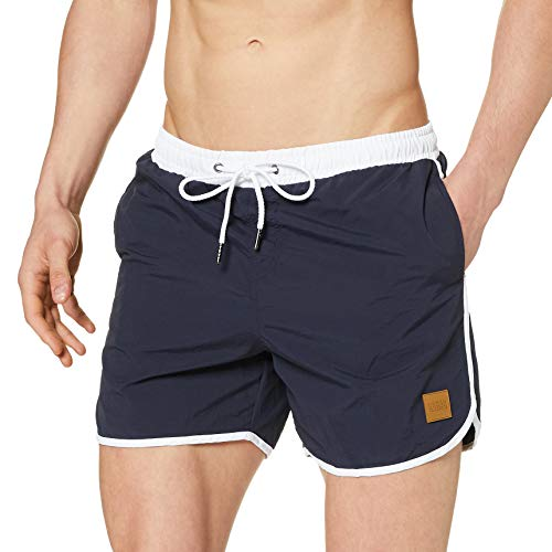 Urban Classics Retro Swimshorts, Pantalones Cortos para Hombre, Azul (Navy/White 01200),...