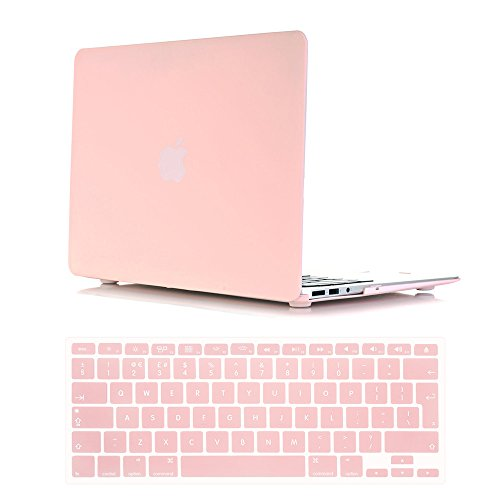 Se7enline Macbook Air 13.3 inch Case Frosted Matte Soft-Touch Hard Shell Case Cover for Macbook Air 13' Model A1369/A1466 with EU Layout Pink Silicone Keyboard Cover, Rose quartz (Baby Pink)