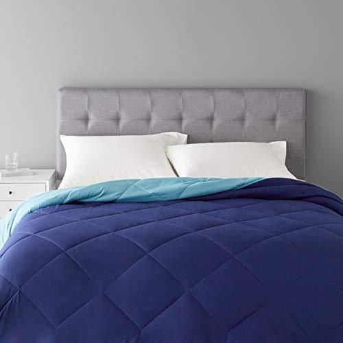 Amazon Basics Reversible Microfiber Comforter Blanket - King, Navy / Sky Blue