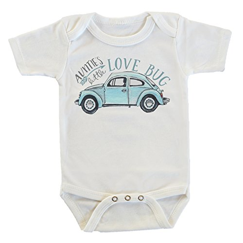Witty and Bitty Auntie's Little Love Bug Car Onesie/Bodysuit, Gifts from Aunt for Nephew, Funny Baby Clothes (White, 0-3 Months)