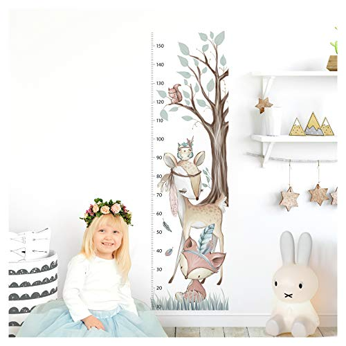 Little Deco Wandtattoo Kinderzimmer Junge Mädchen Messlatte | 150cm Fuchs REH Wald | Wandaufkleber Tiere Kinder Wandsticker Aufkleber Dekoration DL372