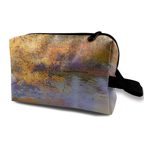 Make-up-Tasche, Kosmetiktasche, Ölgemälde, Landschaft, bunt, Herbst-Trees, Semi-Abstrakt, Bild von...