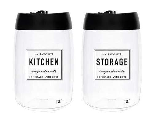 Bastion Collections 2er Set Vorratsglas mit Deckel Kitchen Storrage