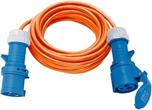 Brennenstuhl Camping-Verlängerungskabel 10m (CEE-Kabel in orange H07RN-F 3G2,5 mit CEE-Stecker und Kupplung mit Verschlussklappe, für ständigen Einsatz im Außenbereich IP44, Made in Germany)