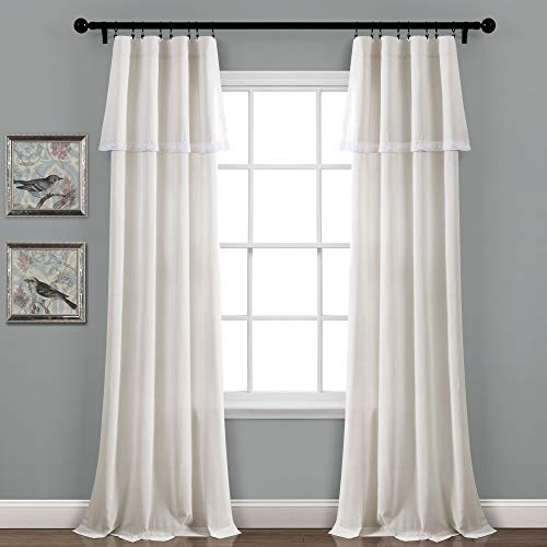"Lush Decor, Light Linen Lace Window Curtain Panel Pair, 84"" x 38"""