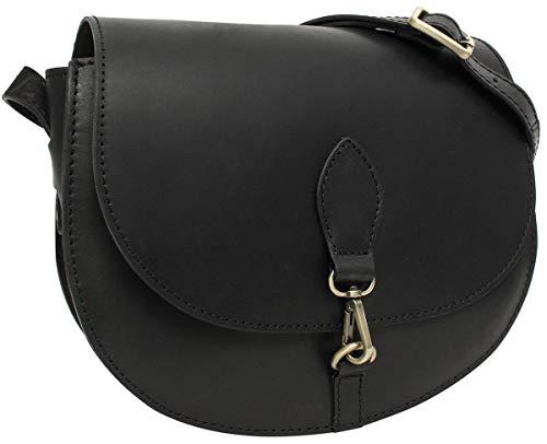 Gusti Handtasche Damen - Umhängetasche Wiebke Schultertasche Damen kleine Tasche crossbody bag Echtleder Schwarz