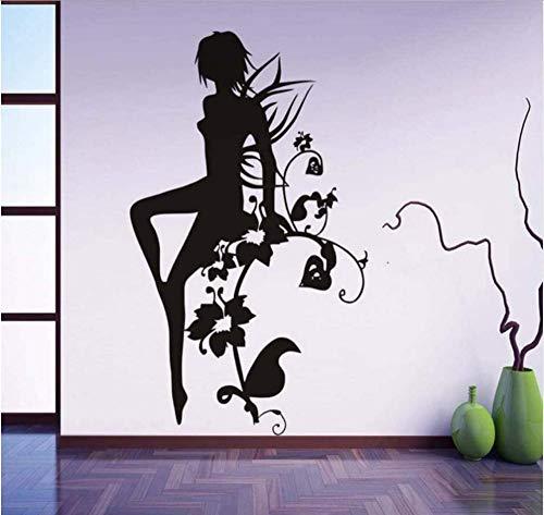 Abnehmbare hochwertige PVC Wandaufkleber moderne PVC wasserdichte schwarze Silhouette gedruckt Blume Fee Mädchen Badezimmer 44X68Cm
