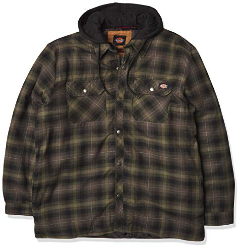 Dickies Men's Relaxed Fleece Hooded Flannel Shirt Jacket, Military Green Ombre Plaid, Medium