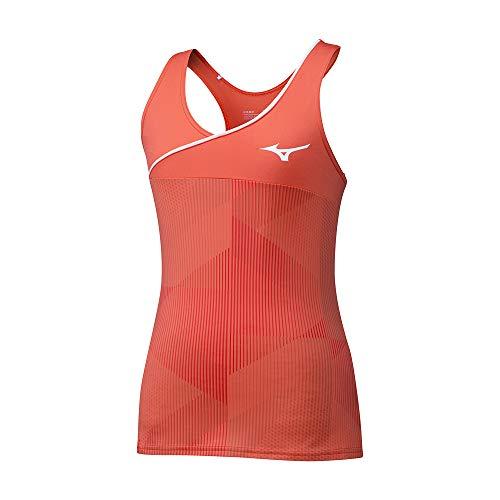 Mizuno Camiseta de Tirantes Estampada para Mujer, Mujer, Depósito, 5054698642740, Coral Caliente, M