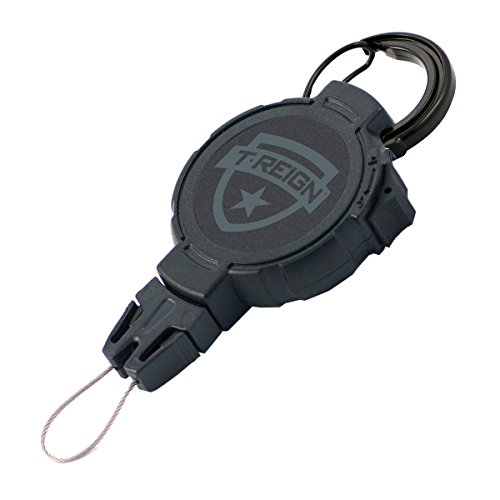 T-REIGN Xtreme Duty Golf Gear Retractor with Carabiner and 36' Kevlar Cord, 14 oz. Retraction, Great for Rangefinders, GPS Units and More!