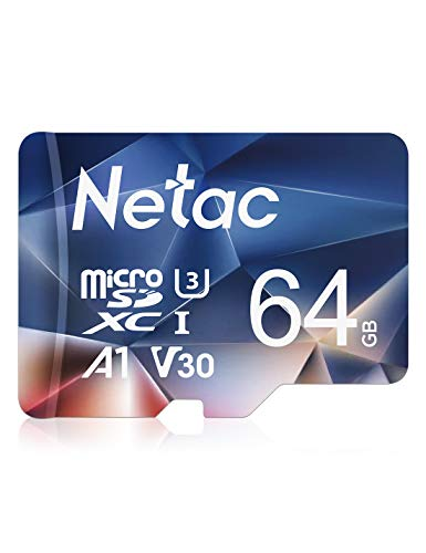 Netac Carte mémoire microSDXC, 64G Haute Vitesse UHS-I Carte Micro SD jusqu'à 100MB/S, A1, U3, C10, V30, 4K, 667X Carte TF pour Drone/Dash Cam/Camera/Phone/Nintendo-Switch/PC/Tablette