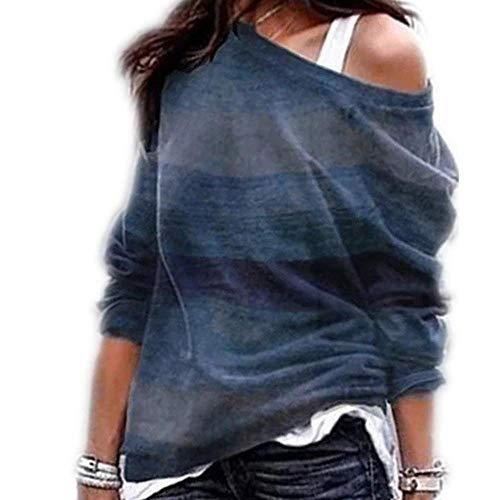 Camiseta sin Mangas con Estampado geométrico de Manga Larga sin Tirantes para Mujer de Primavera y otoño