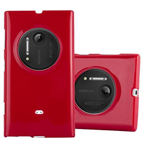 Cadorabo Custodia per Nokia Lumia 1020 in Jelly Rosso - Morbida Cover Protettiva Sottile di Silicone TPU con Bordo Protezione - Ultra Slim Case Antiurto Gel Back Bumper Guscio