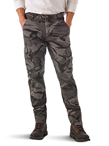 Wrangler Authentics Men's Regular Tapered Cargo, Grey Camo, 34W x 30L