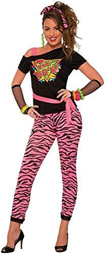 Forum Novelties I Love The 80s Costume for Women. Includes Pink Zebra Print Pants, Off Shoulder Tee, Headscarf