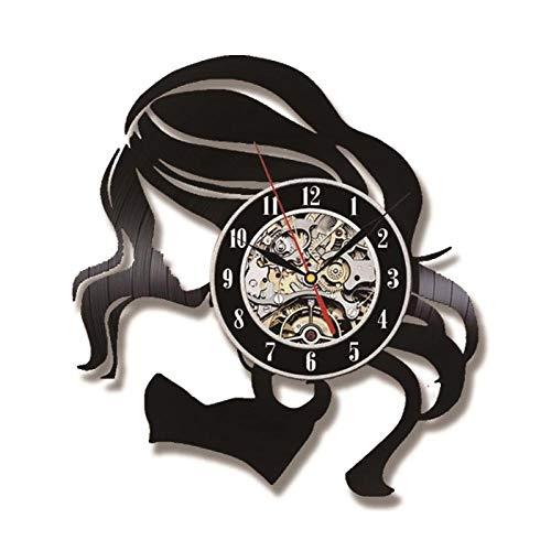 Antieke stijl schoonheid meisje holle CD Record klok creatieve Vinyl LP LED Record klok klassieke handgemaakte kamer Decor opknoping Clock-NO_LED_12_inch