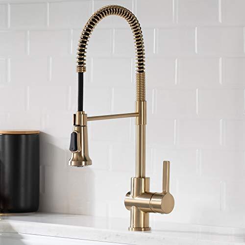Kraus KPF-1690SFACB Britt Commercial Style Kitchen Faucet, Spot Free Antique Champagne Bronze