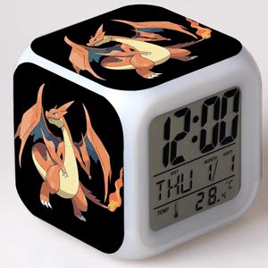 LED Alarm Clock Pocket Monster Pikachu Pokemon for Home Decoration, 7-Color Flashing Digital Clock, Suitable for Indoor and Bedside Gifts for Children, Kids and Birthday Gifts,f