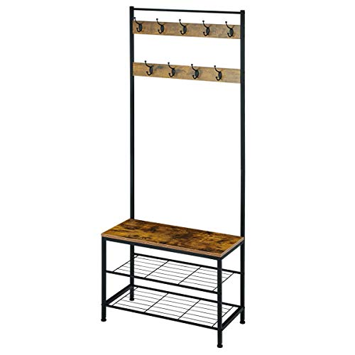 EROMMY Industrial Coat Rack, Entry Bench With Coat Rack, Wood Look Accent Furniture Metal Frame, 3 in 1 Design, Easy Assembly