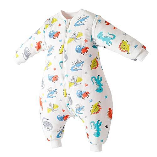 Happy Cherry Pyjama Grenouillères Combinaison Sac de Couchage Coton avec Manches Amovibles Gigoteuse Épais pour Automne Hiver Cadeau Noel, Motifs Dinosaure, 0-24mois