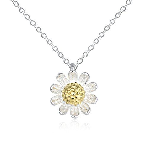 In argento Sterling 925 HMILYDYK delicata girasole fiore Bud placcato oro ciondolo collana per le donne bambine