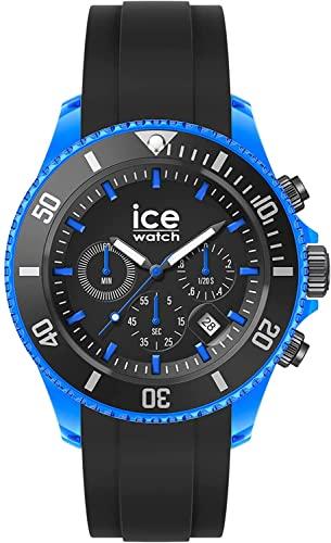 Ice-Watch Ice Chrono Black Blue, Reloj Negro para Hombre con Correa de Silicona, Chrono, 019844, Extra Large