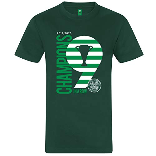 Celtic FC Official Champions 9 in A Row Mens T-Shirt Green XL