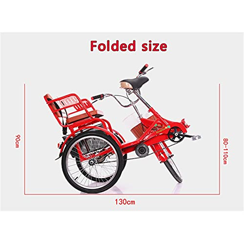 zyy Adult Tricycle 1 Speed 3-Wheel Foldable Tricycle with Basket for Adults Three Wheel Cruiser Bike for Women Men for Shopping or Dogs Dustproof Bag Exercise Bicycle (Color : Red)