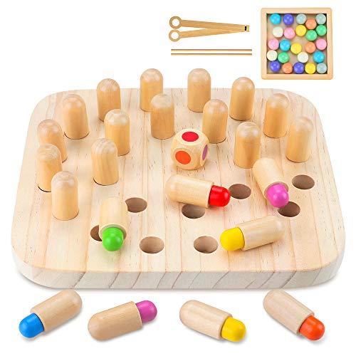 CENOVE Holzspielzeug Memory Match Stick Schach, Holzgedächtnisspiel und Clip Perlen Montessori Spielzeug...