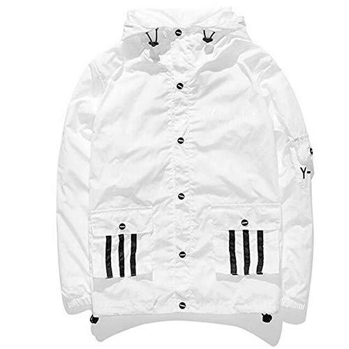 GUTSBOX Mode Windbreaker, Coole Windjacke Kapuzenjacke Streetwear Unisex Damen/Herren/Jungen Mädchen Reißverschluss Jacke (Weiß-2, XL)
