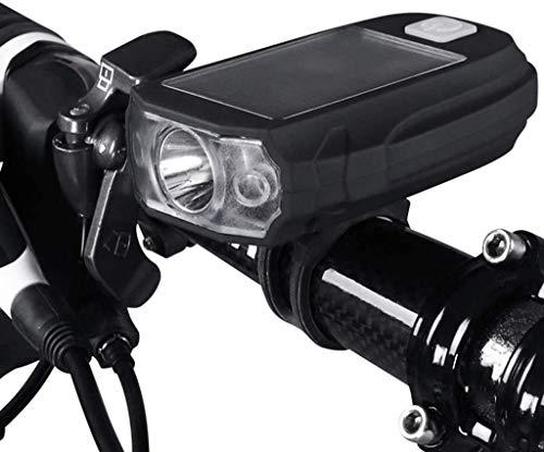 ZOUSHUAIDEDIAN Luz Moto, Carga Solar, USB Recargable Linterna de la Bicicleta, a Prueba de Agua IPX5, LED luz Delantera, 5 h de Tiempo de ejecución Accesorios Cabe Las Bicicletas Urban Commuter