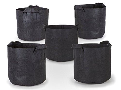 247Garden 5-Pack 3 Gallon Grow Bags/Aeration Fabric Pots w/Handles (Black)