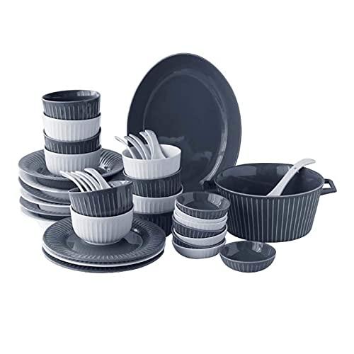 Accesorios diarios Juego de vajilla de cerámica irrompible platos platos platos cuencos para cena, ensalada, postre microondas horno seguro 30 piezas
