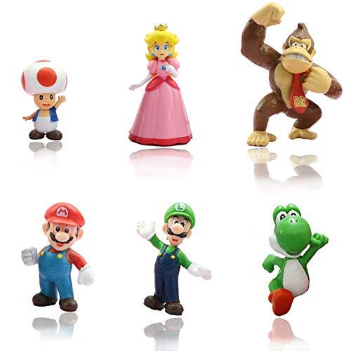 MEMOVAN Super Mario Brothers Cake Toppers, 6pcs Mario Action Figures Toys, Mario Birthday Cake Topper Cupcake Topper, Mario Cake Decorations for Kids Birthday Baby Shower Mario Theme Party Supplies