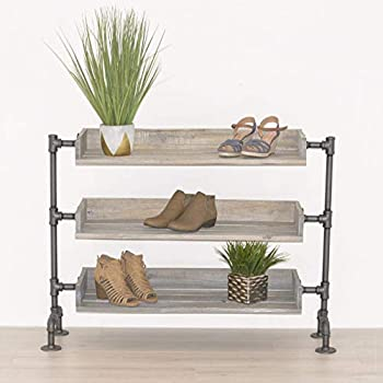 Industrial Pipe and Wood Shoe Rack Shoe Organizer Free Standing Shoe Rack Shoe Storage Wood Shelving by William Roberts Vintage