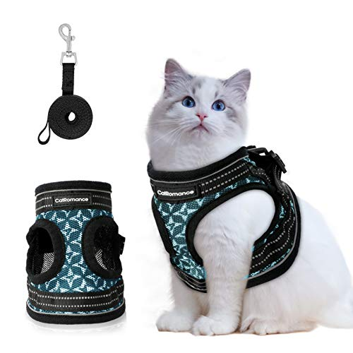 CatRomance Cat Harness and Leash Set, Escape Proof Cat Harness and Leash for Walking, Breathable & Adjustable Cat Vest Harness with Reflective Strips, Step-in Cat Harness for Outdoor (Medium, Blue)